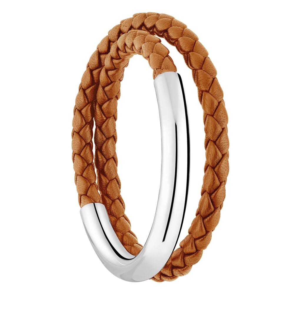 Caramel Leather Bracelet In Sterling Silver T 1 Christofle