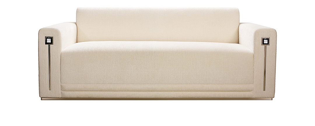 Masque De Femme Contemporary Sofa In Numbered Edition, Clear Crystal And  Ivory Silk, Medium