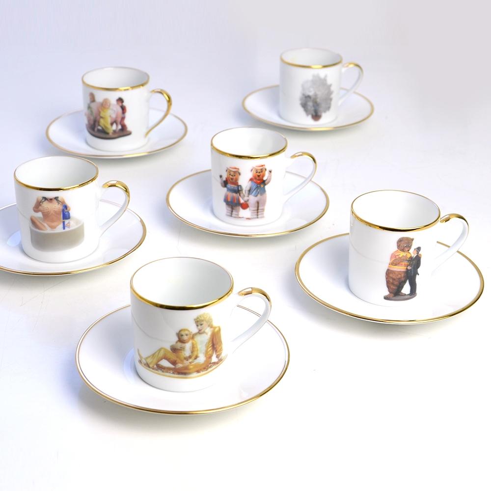 Set Of 6 Coffee Cups Saucers Bernardaud