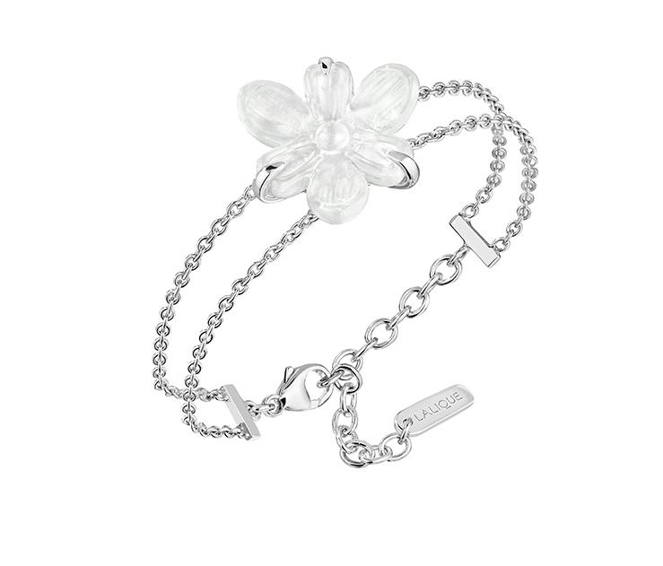 Fleur De Neige Bracelet Clear And Silver Lalique