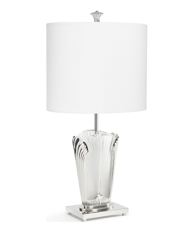 Ginkgo Lamp In Clear Crystal Shiny And Brushed Nickel Finish Lalique